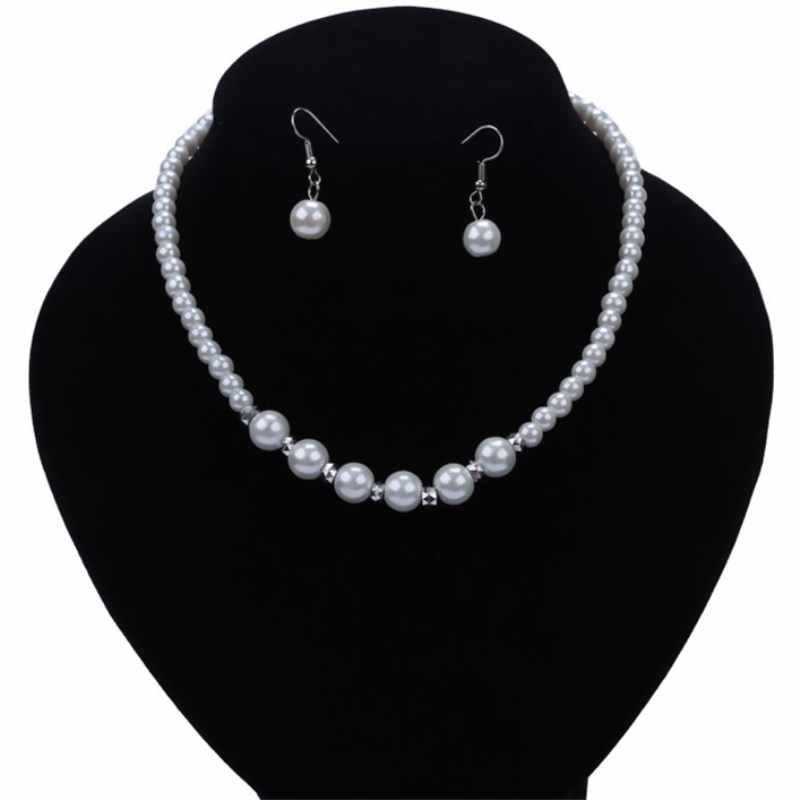 NK117 Fashion Classic Imitation Pearl Silver Plated Clear Crystal Elegant Party Gift Necklace Bride Suit Wholesale Jewelry Sets