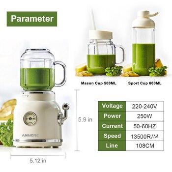 ANIMORE Juice Blender Retro Fruit Juicer Baby Food Milkshake Mixer Multifunction Juice Maker Machine Portable Fruit Blender 1