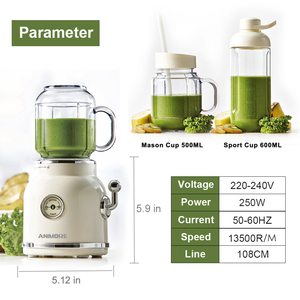 Image 2 - ANIMORE Juice Blender Retro Fruit Juicer Baby Food Milkshake Mixer Multifunction Juice Maker Machine Portable Fruit Blender