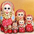 7 pcs Pintura À Mão Bonecas Matryoshka Conjunto Decoração da Festa de Casamento Criativa De Madeira Do Assentamento Do Russo de Matryoshka Babushka Bonecas Brinquedos