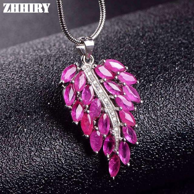 Natural Ruby Gems Colar Pingente Genuine Sem Aquecimento Pedra Mulheres Belas Jóias de Prata Esterlina 925