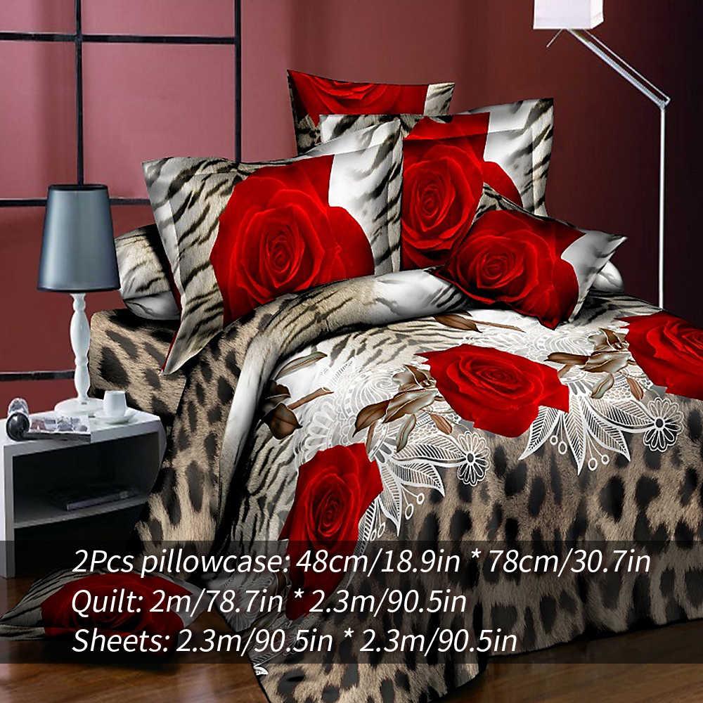 DIDIHOU 3/4PCS Floral Bedding Set 3D Flowers Printed Polyester Duvet Cover Bedsheet with Pillow Sham Comforter Bedding Sets