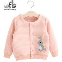 Venta al por menor 3-10 años los niños de dibujos animados de conejo abrigo de otoño resorte de la muchacha del otoño