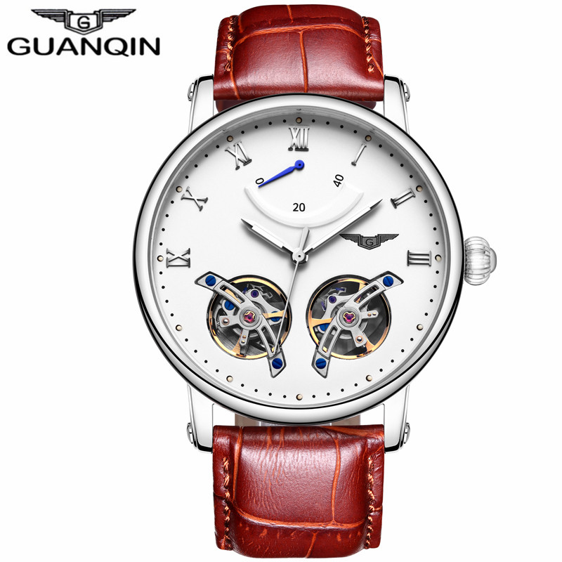 GUANQIN GJ16046 skeleton Tourbillon New Mechanical Watch Men Fashion Wrist Watches Male Automatic Clock relogio automatico forsining automatic tourbillon men watch roman numerals with diamonds mechanical watches relogio automatico masculino mens clock