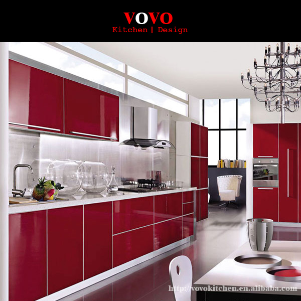 Red Lacquer High Gloss Modern Kitchen Cabinet Designs-in