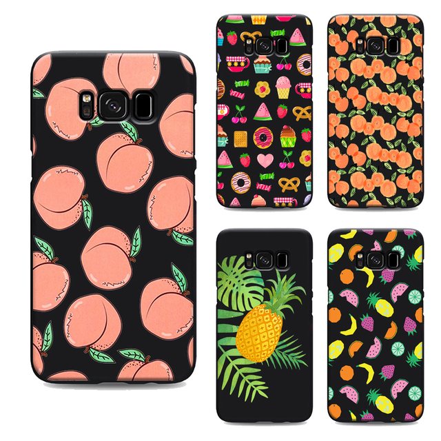 quality design 8a8ca d6239 US $1.64 34% OFF|lovely skinny dip peach summer fruit clear soft Silicone  black cover phone case for samsung galaxy s7 edge s6 s5 s8 s9 plus-in ...