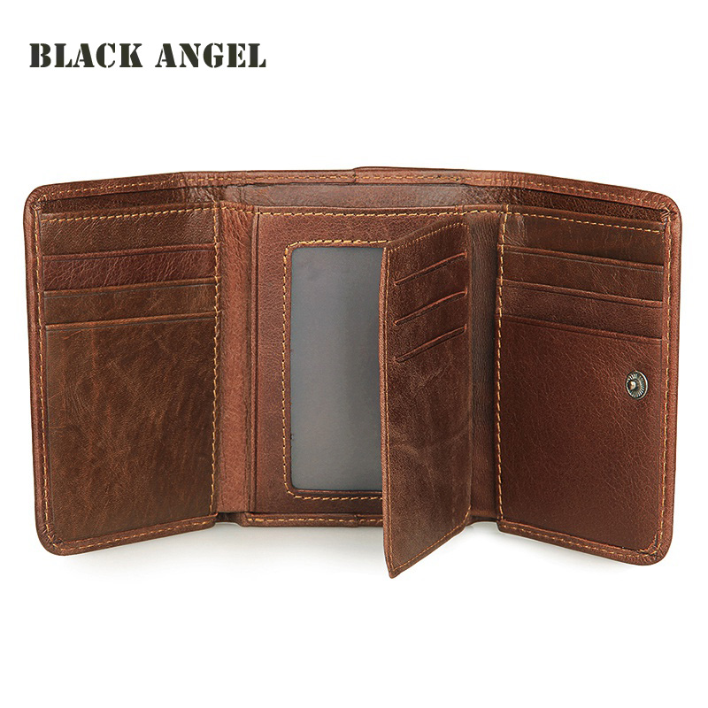 Vintage genuine leather men wallets Cowhide Trifold Male wallet short vertical design purse card holder