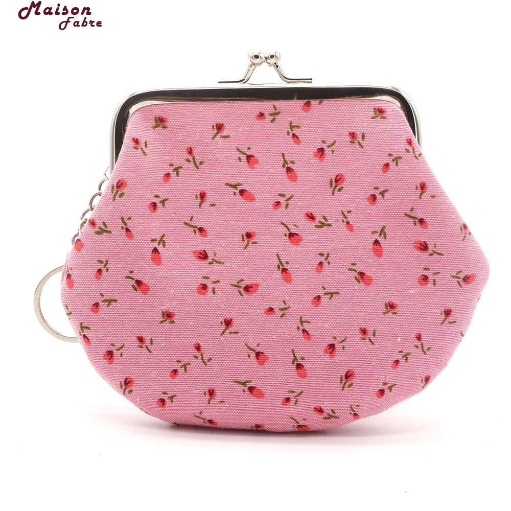 Maison Fabre Coin Purse Woman Women Lady Retro Vintage Flower Small Wallet Hasp Purse Clutch Bag Coin Purse Small