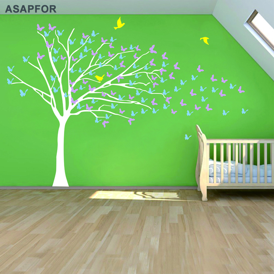 Huge White Tree and Birds Stickers Butterflies on the Wall Decals Decoration for Living Room Landscape Nursery Bedroom Wall Art -