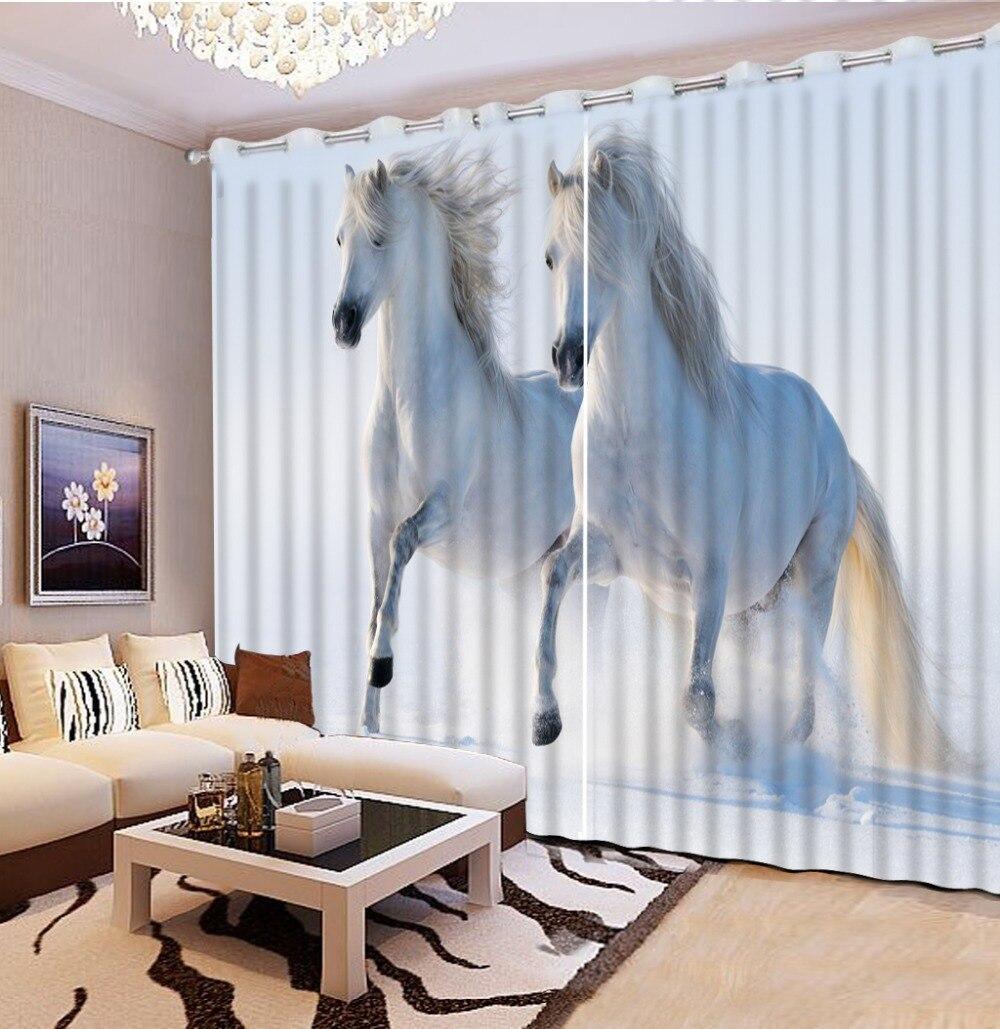 Personnalisé n'importe quelle taille rideaux occultants pour salon animal cheval rideaux personnalisés rideaux romains pour salon