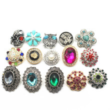 Mix 10pcs/lot Many Styles Rhinestone Elephant 18-22mm Alloy Snap Buttons Fit Women Bracelets Watches DIY Jewelry