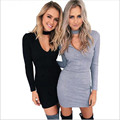 2016 new fashion autumn women high quality v-neck knitted long- sleeve slim bodycon sexy Mini sweater Dress dresses Vestido