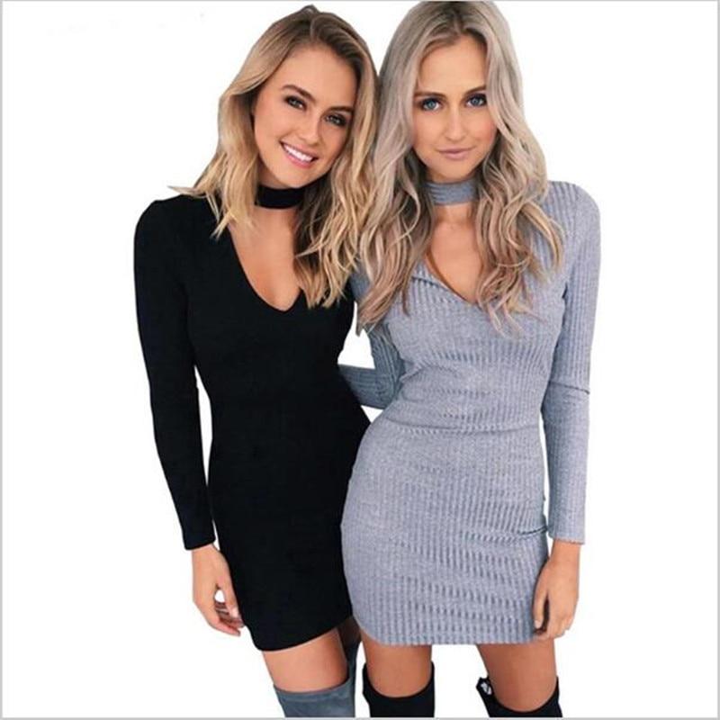 2017 new fashion autumn women high quality v-neck knitted long- sleeve slim bodycon sexy Mini sweater Dress dresses Vestido