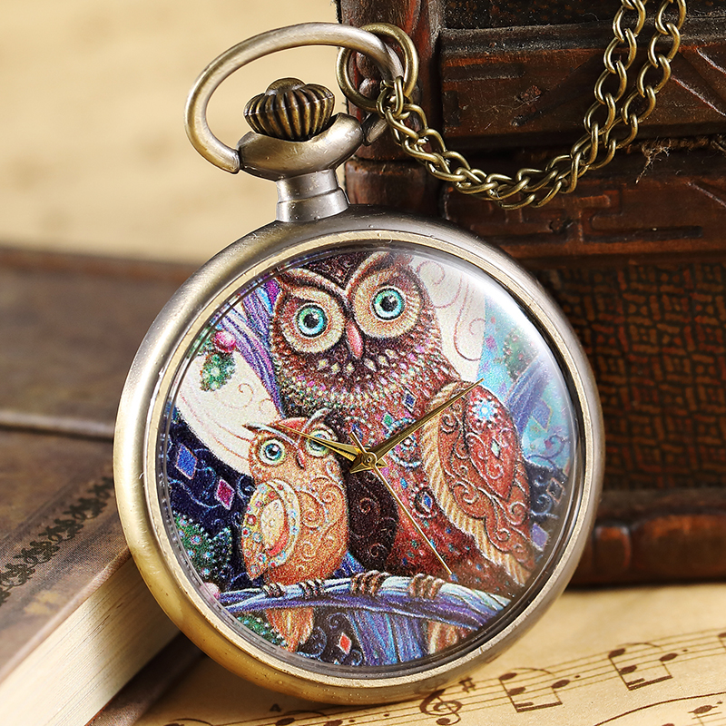 Elegant Mother And Daughter Owl Pattern Pocket Watch Women Men Vintage Painted Steampunk Bronze Pocket Watch Necklace Fob Chain