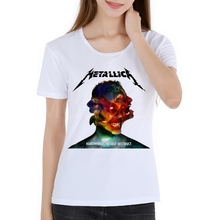 Women Heavy metal rock band alphabet printing T-shirt 3D METALLICA White Heavy Metal T Shirt Summer Fashion Rock Music Top M2-6#