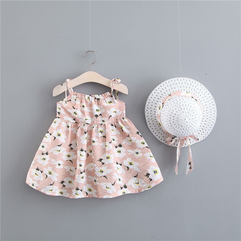 BNWIGE Baby Girls Dress With Hat pcs Set Cotton Print Floral Sleeveless Baby Girl Clothes Birthday