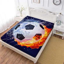 Fire Soccer Ball Design Bed Sheet 3D Football Print Fitted Sheet Football Stadium Print Bedding Deep Pocket Polyester Bedclothes недорого