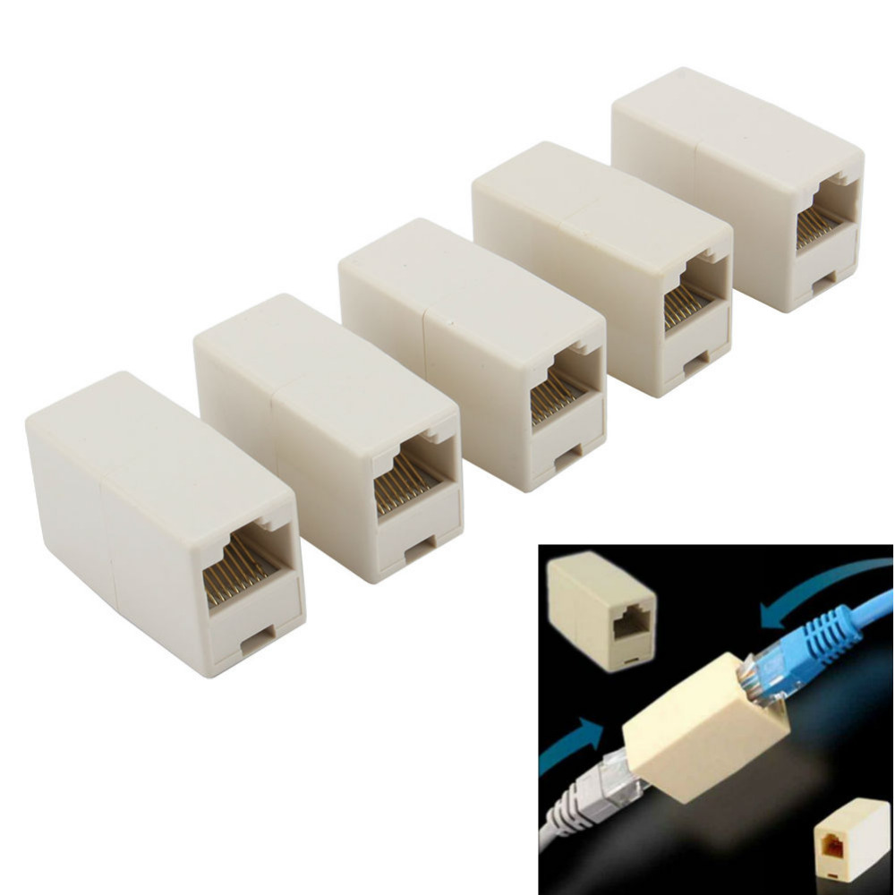 5pcs/lot High quality Newtwork Ethernet Lan Cable Coupler Connector RJ45 CAT 5 5E Extender Plug 2017 Coupler Connectors good vention 4 pin rj 11 6p4c telephone straight coupler cable extender 10pcs
