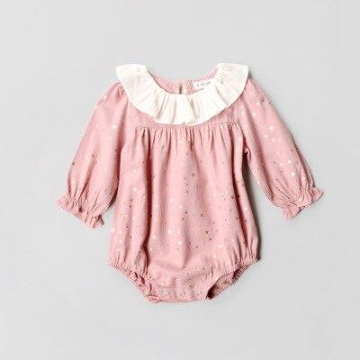 Everweekend Sweet Baby Pink Star Ruffles Romper Western