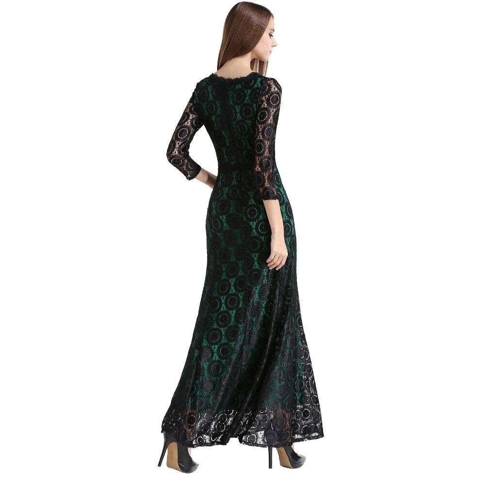 Frauen Spitze Langes Kleid Sommer Casual Robe Sexy 2016 UK Grün ...