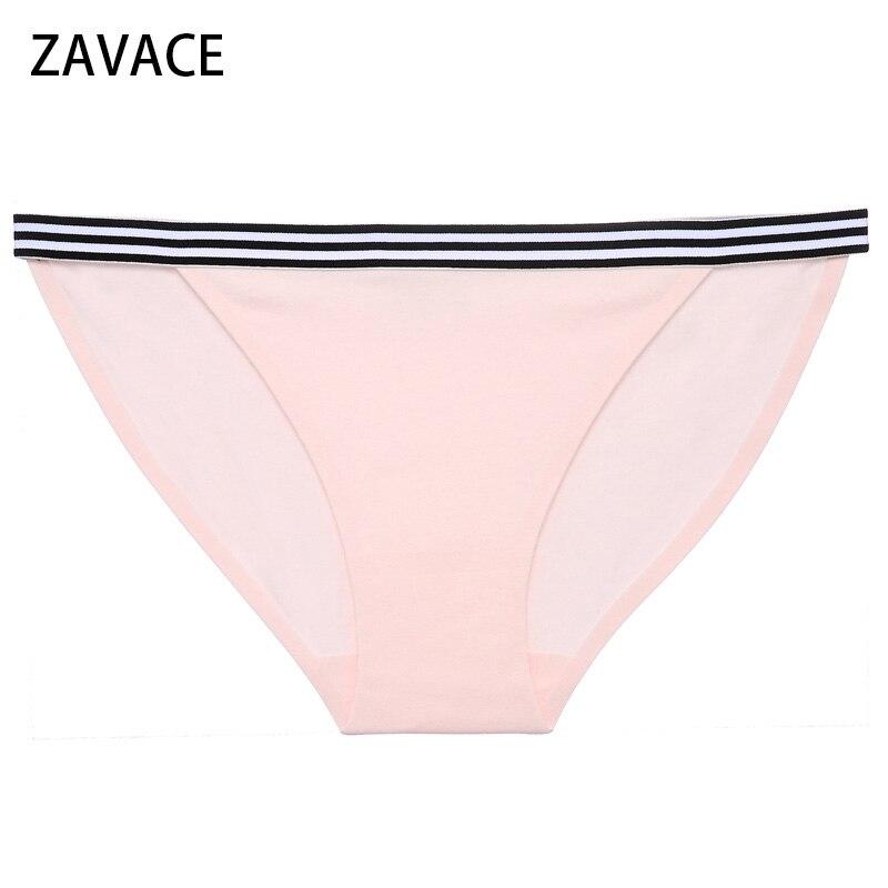 Buy ZAVACE 3pcs/lot Seamless solid color comfortable cotton crotch waist stripes briefs panties girls panties women sexy underwear