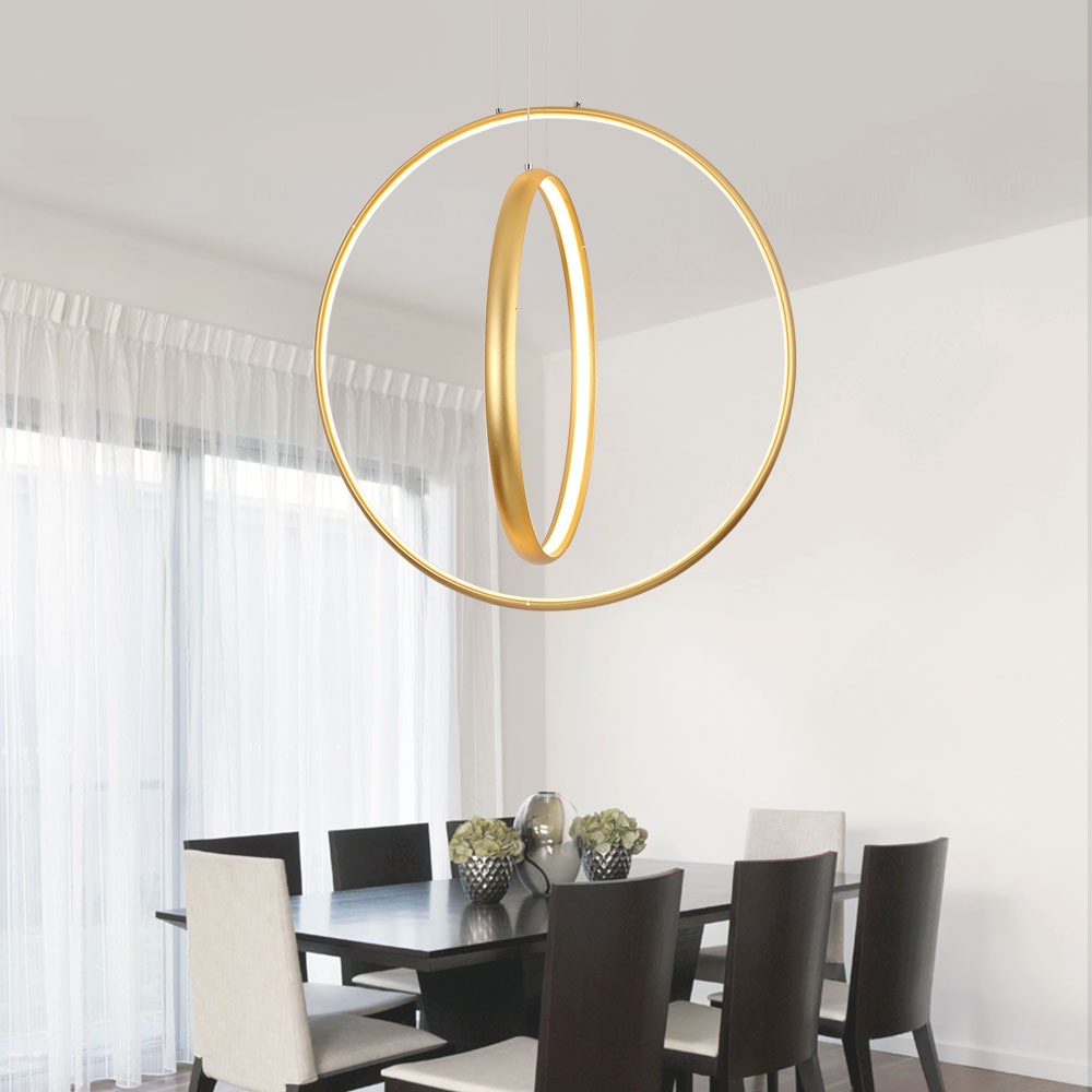 Led Gold Chandelier Lighting Lustre Ring Hanging Lamp Modern Chandeliers Ceiling Restaurant Bar Cafe Indoor Decoration 10 Unique Lustre Bar
