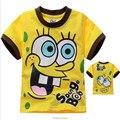 2017 verão Impressão Spongebob camisetas t Moda Algodão Crianças Kid Meninos Das Meninas Do Bebê T Camisas de futebol Tops Vestuário Infantil