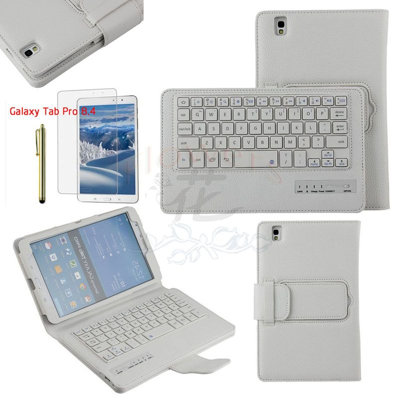 Specialized Removable Bluetooth Keyboard Case Smart Cover For Samsung Galaxy Tab Pro 8.4 T320 & Screen Protector & Pen & White samsung keyboard cover ej cg930ubegru black