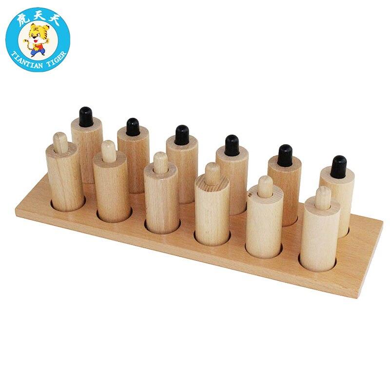 Montessori bébé jouets sensoriels cylindres de pression 6 paires de cylindres en bois avec différentes pressions de ressort