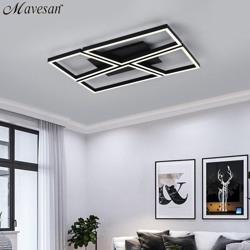 Creative led Plafond lampes pour Chambre Noir cadre Plafond maison 10-25square mètres carré luminaires plafon par techo