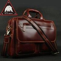 ANAPH бренд вина из кожи с натуральным лицевым покрытием Мужские портфели 15 дюймов сумка для ноутбука Для Мужчин's Бизнес Tote сумки двойной молн