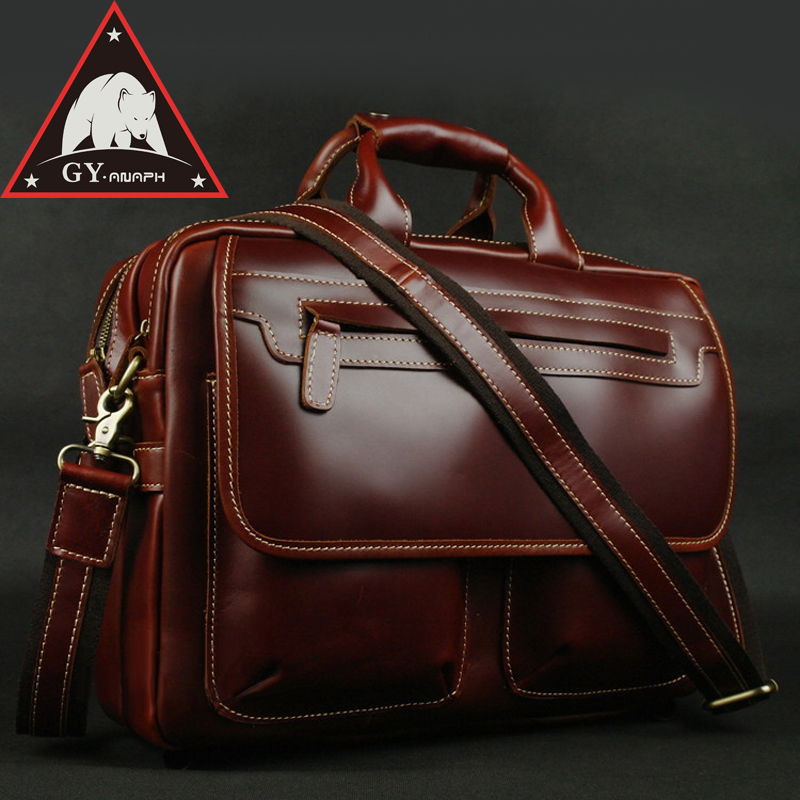 ANAPH Brand Wine Full Grain Leather Briefcases 15 Inch Laptop Bag Men's Business Tote Bags Double Zippers Open Top Quality anaph 15 inch laptop briefcase men office work bags brown real cow leather top quality tote bag man double zippers open