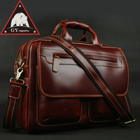ANAPH Brand Wine Full Grain Leather Briefcases 15 Inch Laptop Bag Men's Business Tote Bags Double Zippers Open Top Quality