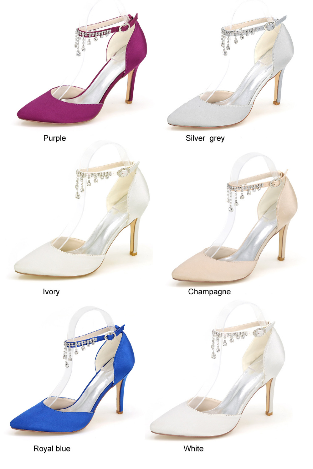 Creativesugar Pointed toe satin dress shoes with crystal tassel ankle strap  summer D orsay pumps bridal wedding party prom heels-in Women s Pumps from  Shoes ... 67a385ca5a2