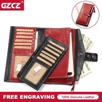 GZCZ Wallet Brand Coin Purse Genuine Leather Women Walet Female Card Holder Long Lady Clutch Carteira