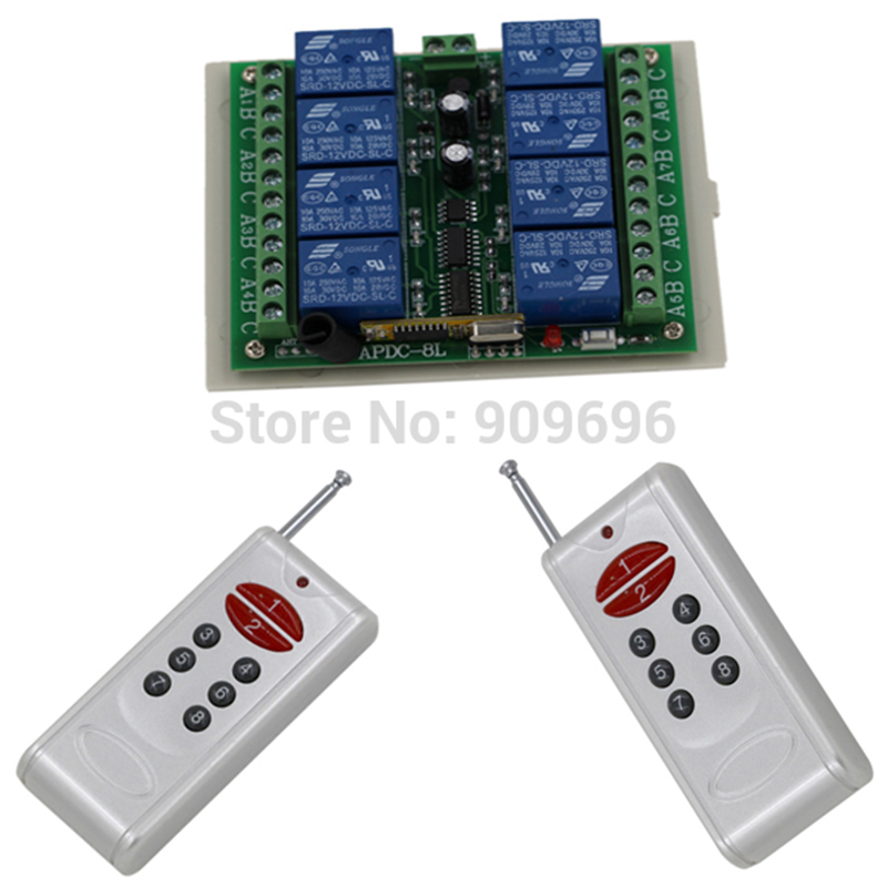 цены New DC 12V 8CH channel RF Wireless Remote Control Switch remote control 2 transmitter +1 receiver Free Shipping