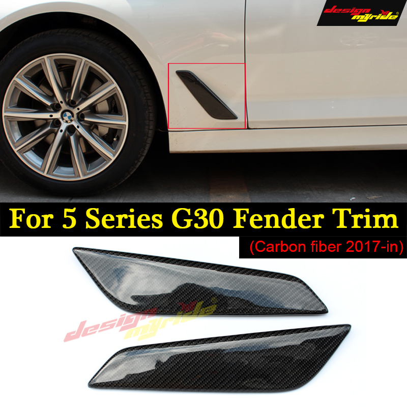 for BMW G30 Fender Car Front Side Air Vent Cover Trim 2 Pcs Carbon Fiber for BMW G30 520d 530i 530d 540i 525i Fender Trim 2017+