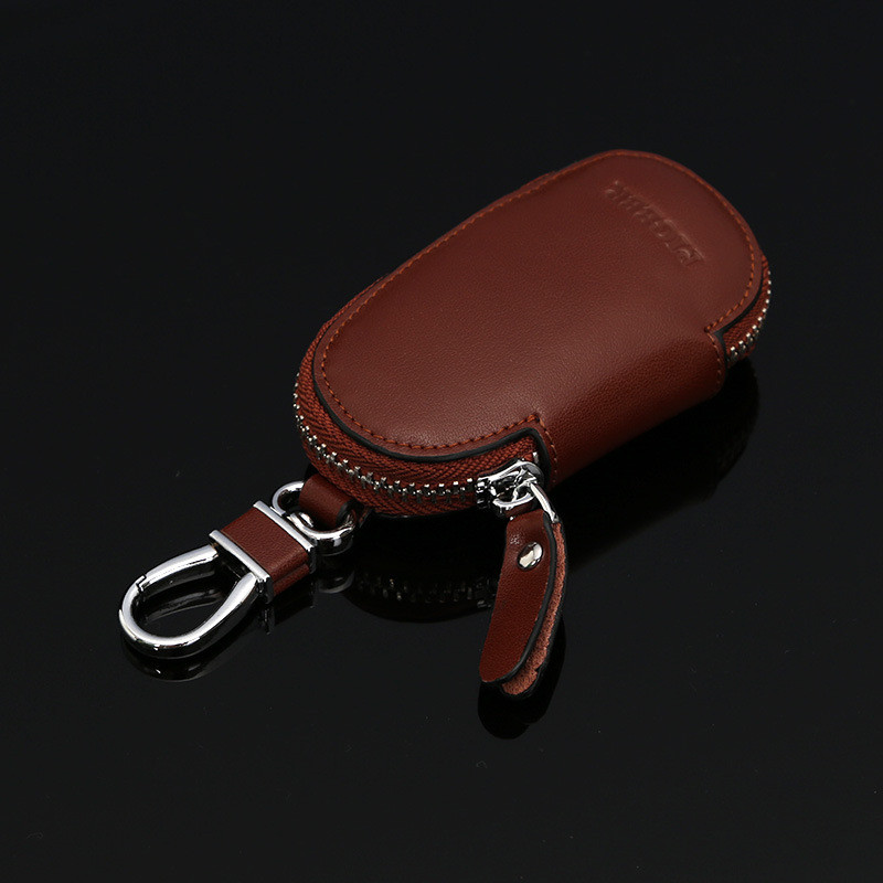 BYCOBECY Vintage Genuine Leather New Fashion Color GM Car Remote Key Case Round Zipper Leather Fine-grain Smart Key Package New