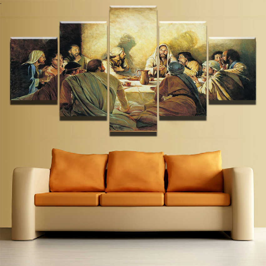 Wall Art Canvas Painting Frame Home Decor Poster 5 Pieces Jesus Abstract Paintings Last Supper Pictures Modern HD Printed