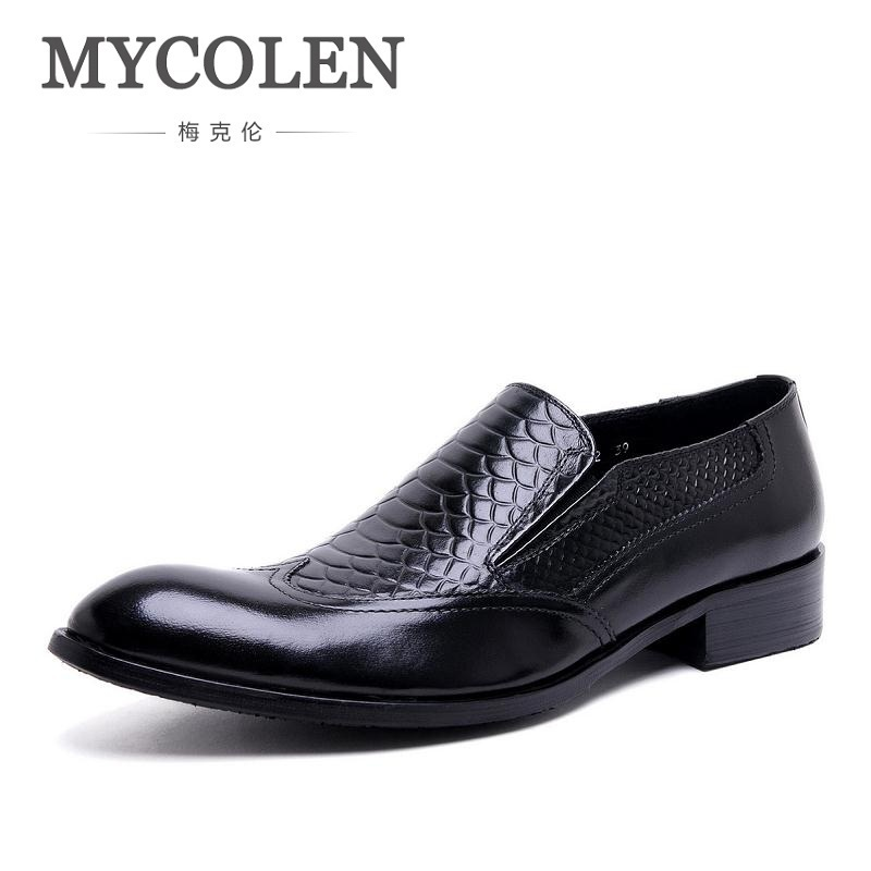 MYCOLEN Men Loafers Crocodile Pattern Slippers Slip On Moccasins Wedding Men's Dress Shoes Genuine Leather Casual Black Flat mycolen mens loafers genuine leather italian luxury crocodile pattern autumn shoes men slip on casual business shoes for male