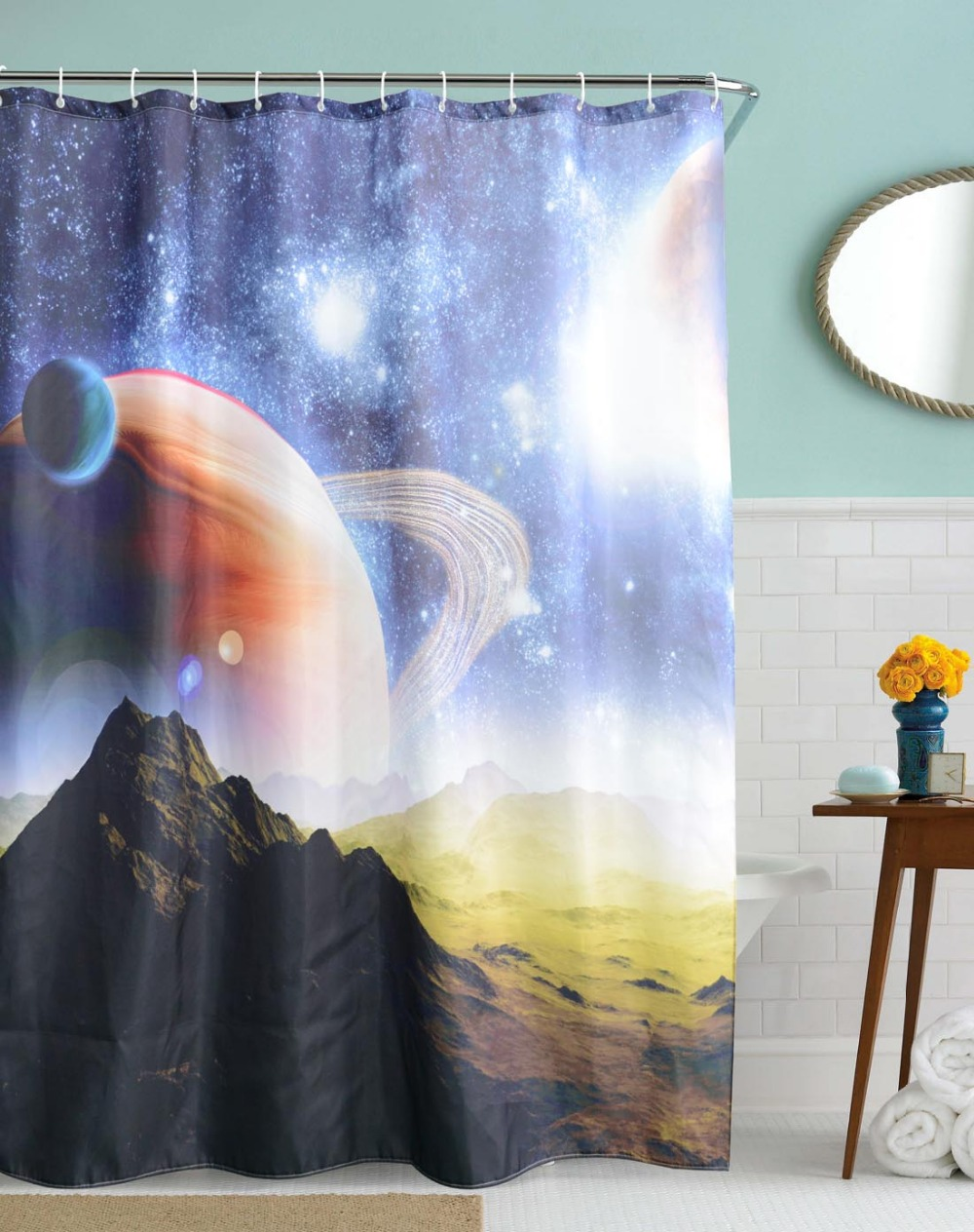 3D Mountain Planet Shower Curtains Waterproof Polyester Fabric Bathroom Bath Hill Star Cortinas 180x180cm With Hooks