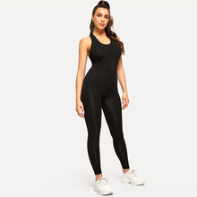 New Backless Crisscross Back Scoop Neck Solid Skinny Jumpsuit  Sexy  Bodycon Jumpsuit Activewear Women Fitness Black Overalls