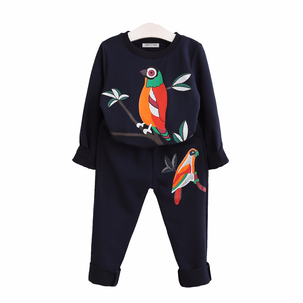 Girls Clothes Children Clothing 2017 Spring Toddler Girl Clothing Sets long sleeve Bird Print top shirt pants suit Kids Clothes fashion brand autumn children girl clothes toddler girl clothing sets cute cat long sleeve tshirt and overalls kid girl clothes