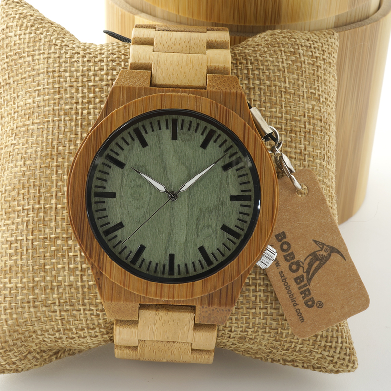 Wristwatch Ghost Eyes Wood Strap Glow Analog Watch with Bamboo Gift Box C-B22 (5)