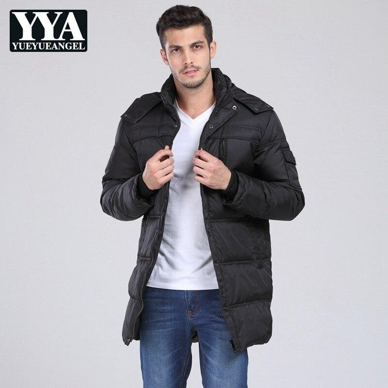 2019 hommes veste d'hiver en duvet de canard à capuche noir lâche épais chaud vers le bas manteaux mâle de haute qualité grande taille 10XL Long pardessus nouveau