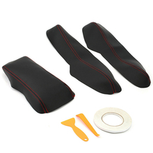 3pcs/Set PU Leather Center Armrest Box Surface Case Cover Trim Black&Red For Honda Civic 2016 2017 2018 Car Styling