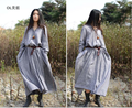 2014 New original unique designer Brand Women Vintage solid color Dubai arabic style Long Sleeve Maxi Linen Dress Vestido Saia