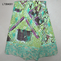African Wax fabric with Guipure Lace 6 Yard / lot,colorful Letter design African Nigerian Lace Fabrics For noble Wedding dresses