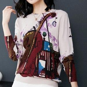 Image 4 - YISU Knitted Print Sweater Women Long Sleeve Jumper Pullover Knitwear Tops 2018 Autumn Winter Fashion Guitar print sweater