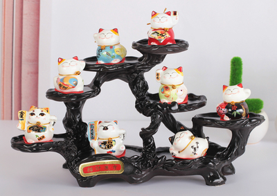 Plutus Place the car Mini porcelain Cute cat home sitting room store Opening birthday gift Crafts Arts decoration cute ornaments